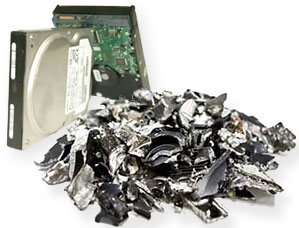 crushed hard drive